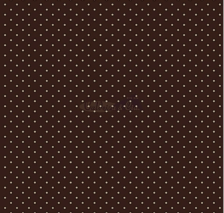 Tecido Tricoline Estampa Poá Branco - Fundo Marrom Chocolate