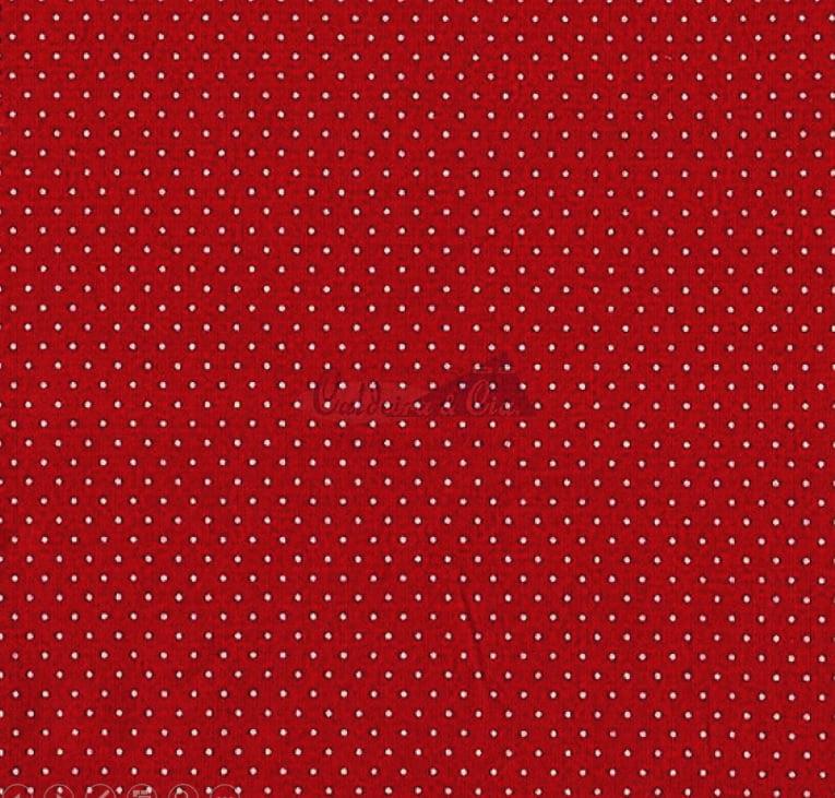 Tecido Tricoline Estampa Poá Branco - Fundo Vermelho