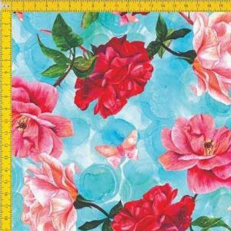 Tecido Tricoline Estampado Digital Floral Borboletas - Fundo Azul