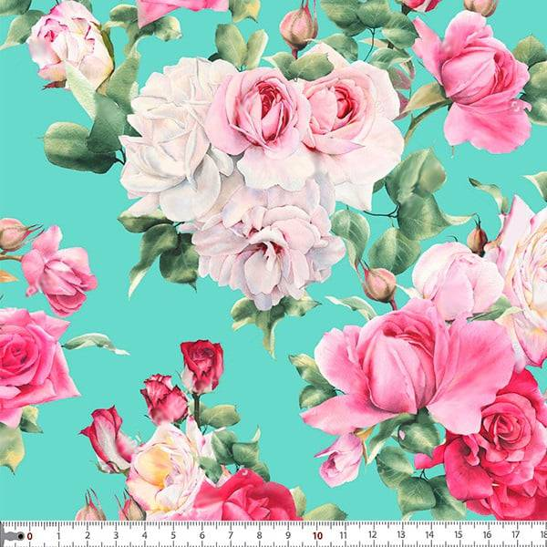 Tecido Tricoline Estampado Digital Floral - Fundo Azul