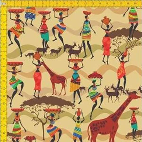 Tecido Tricoline Estampado Digital Girafas e Africanas - Fundo Bege