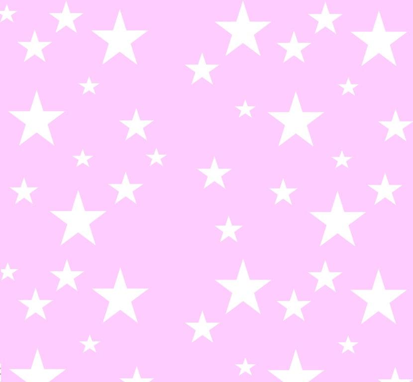 Tecido Tricoline Estrelinhas Branca - Fundo Rosa