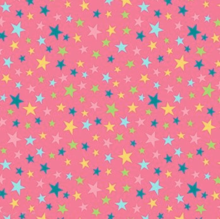 Tecido Tricoline Estrelinhas Coloridas - Fundo Rosa Médio