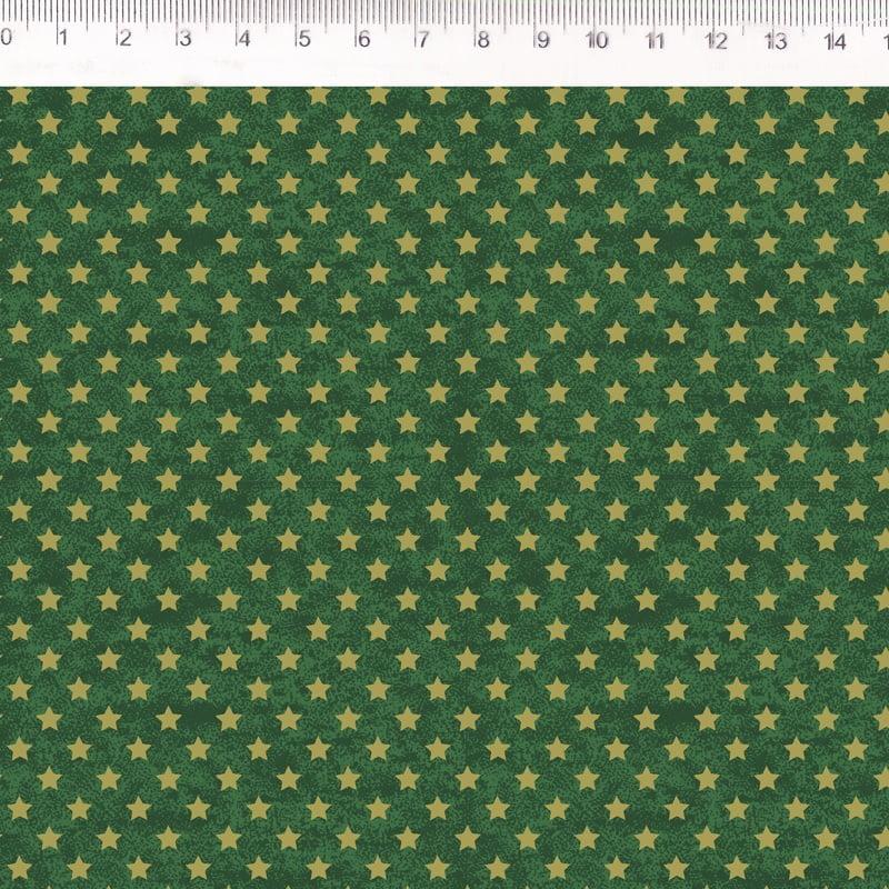 Tecido Tricoline Estrelinhas de Natal - Fundo Poeira Verde - Preço de 50 cm x 150 cm