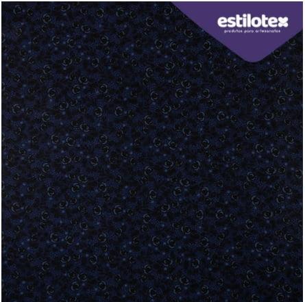 Tecido Tricoline Floral Chic Chumbo - Fundo Azul Marinho