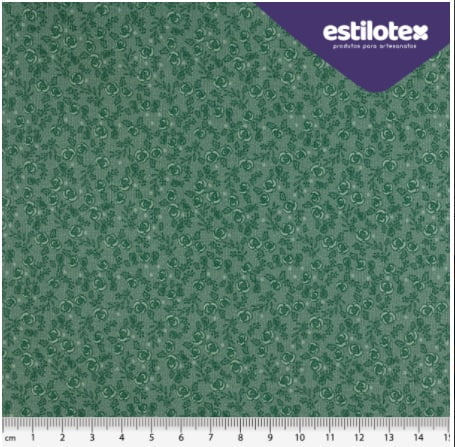 Tecido Tricoline Floral Chic Verde Esmeralda - Preço de 50 cm x 150 cm
