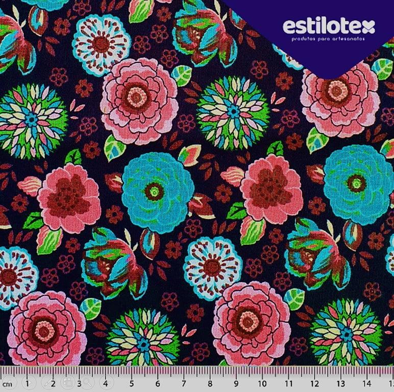 Tecido Tricoline Floral Flores Coloridas - Fundo Preto