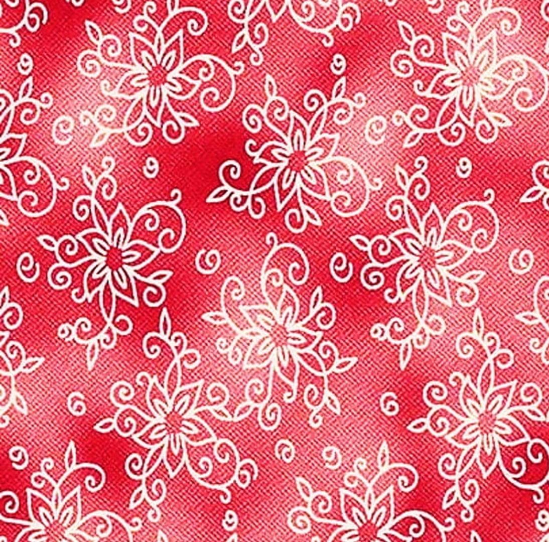 Tecido Tricoline Floral Contornos  - Fundo Rosa Escuro
