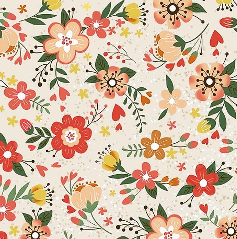 Tecido Tricoline Digital Floral - Fundo Bege - Coleção Viva La Vida Country