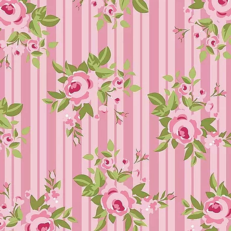 Tecido Tricoline Floral Pássaros - Fundo Rosa Listrado