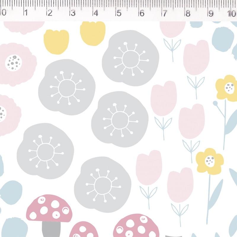 Tecido Tricoline Flores - Fundo Branco - Por Mariana Curti