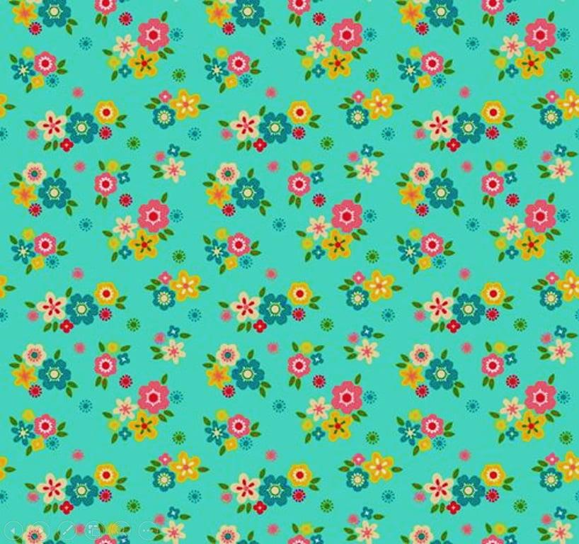 Tecido Tricoline Florescer - Artesanato Patch work - Fundo Tiffany