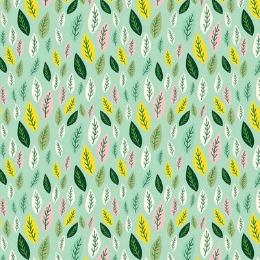 Tecido Tricoline Folhas - Fundo Verde - Coleção Siciliano - Preço de 50 cm x 150 cm