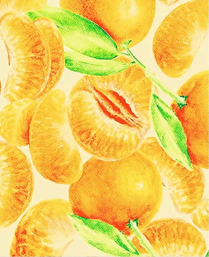 Tecido Tricoline Fruta Tangerina - Fundo Amarelo Claro