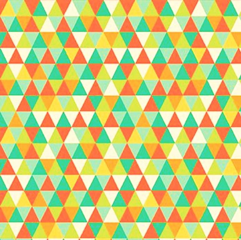 Tecido Tricoline Geométrico - Tons de Laranja e Verde