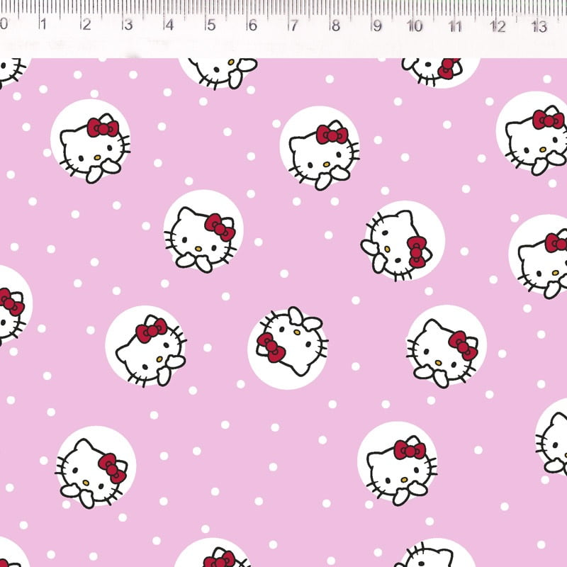 Tecido Tricoline Hello Kitty - Fundo Rosa com Poá Branco - Preço  de 50 cm X 150 cm