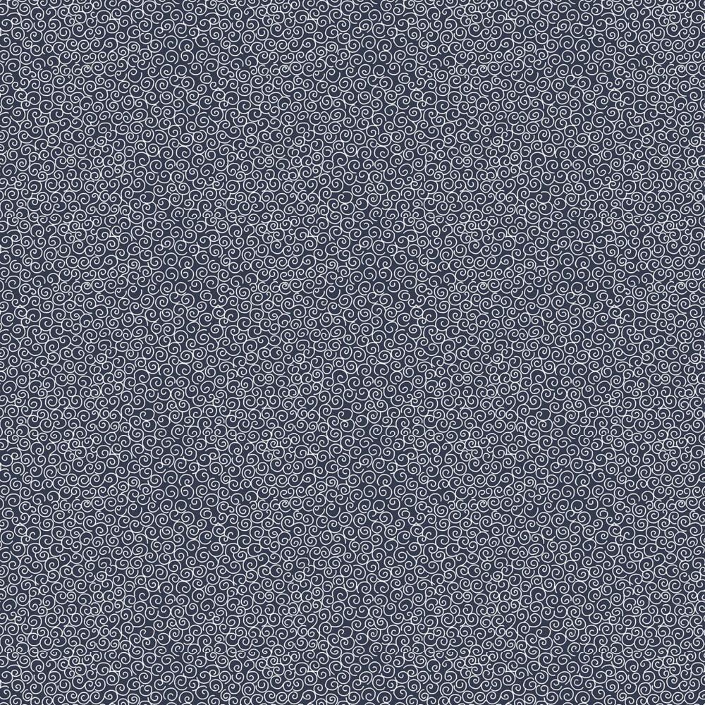 Tecido Tricoline Micro Caracol - Fundo Azul Marinho - Preço de 50cm x 150cm
