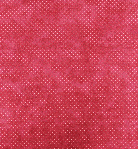 Tecido Tricoline Micro Poá Branco com Poeira - Fundo Goiaba - Preço de 50 cm X 150 cm