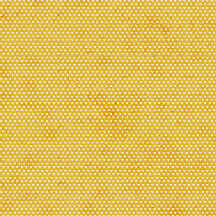 Tecido Tricoline Mini Corações - Fundo Poeira Amarelo Queimado