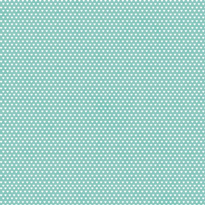 Tecido Tricoline Mini Corações - Fundo Poeira Tiffany