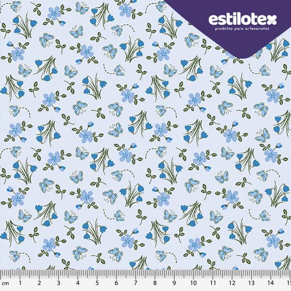 Tecido Tricoline Mini Flores e Borboletas - Fundo Azul Claro