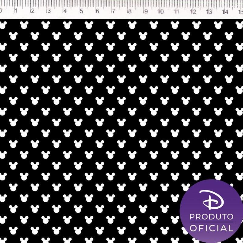 Tecido Tricoline Mini Mickey Mouse - Fundo Preto - Coleção Disney