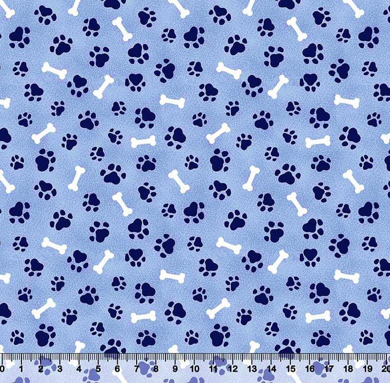 Tecido Tricoline Patinha e Osso - Fundo Azul - Preço de 50 cm x 150 cm