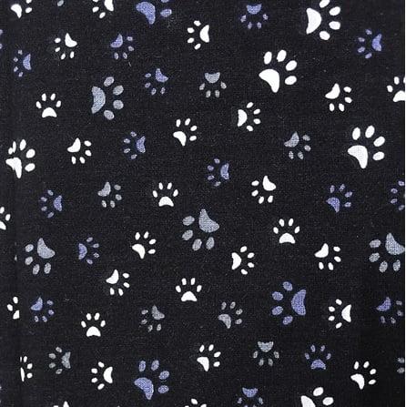 Tecido Tricoline Patinhas - Fundo Preto - Preço de 45 cm x 150 cm