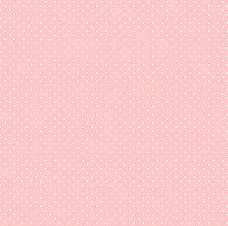 Tecido Tricoline Poá Branco Pequeno - Fundo Rosa  40 cm