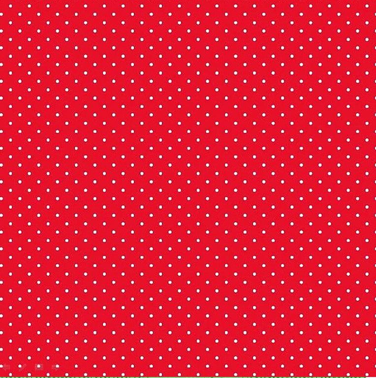 Tecido Tricoline Poá Branco Pequeno - Fundo Vermelho