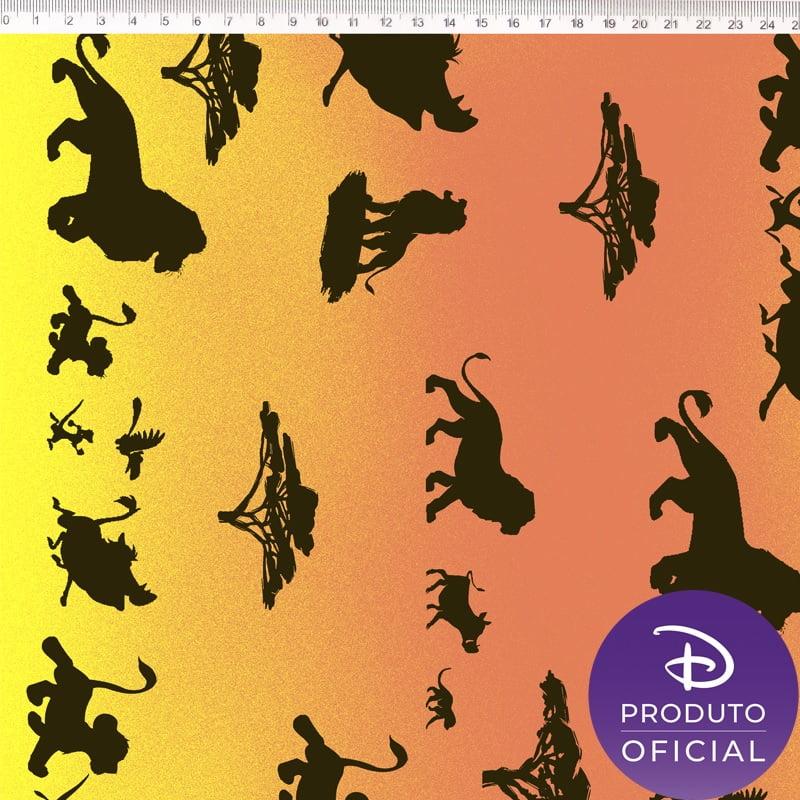 Tecido Tricoline Rei Leão - Fundo em Degradê Laranja e Amarelo - Coleção Disney