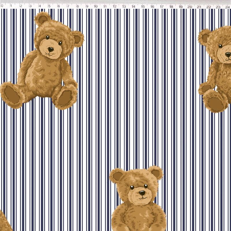 Tecido Tricoline Urso com Listras Marinho - Fundo Branco - Coleção Teddy Bear - Preço de 50 cm x 150 cm