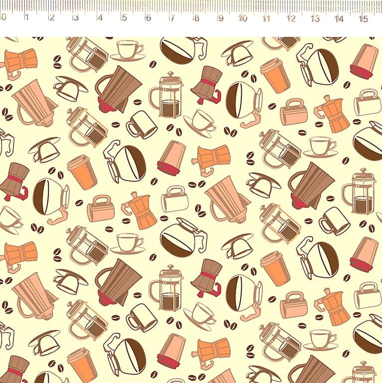 Tecido Tricoline Utensílios de Café - Fundo Creme - Coleção Cafeteria - Preço de 50 cm x 150 cm