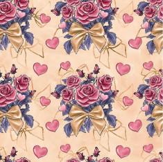 Tecido Tricoline Digital Bouquet - Fundo Pêssego - Coleção Valentine