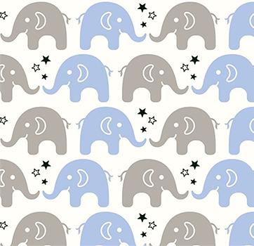 Tecido Tricoline Estampa de Elefante Cinza e Azul Claro - Preço de 50 cm X 150 cm