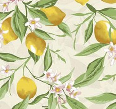 Tecido Tricoline Limão Siciliano -Fundo Bege com Flores - Coleção Fruits - Preço de 50 cm x 150 cm