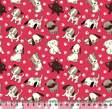Tecido Tricoline Cachorros e Patinhas - Fundo Rosa - Preço de 45 cm x 150 cm