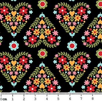 Tecido Tricoline Floral em Formato de Coração (Fundo Preto) - Coleção Matrioska - 50 cm x 150 cm
