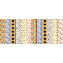 Tecido Estampa Exclusiva de Barrado Canecas - 100% poliéster - Preço de 60cm x 148cm