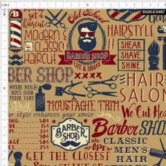 Retalho Tricoline Digital Barbearia Hipster - Fundo Capuccino