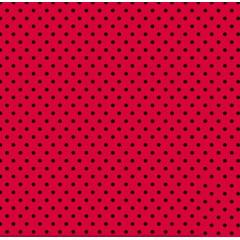 RetalhoTricoline Poá Pequeno Preto - Fundo Vermelho