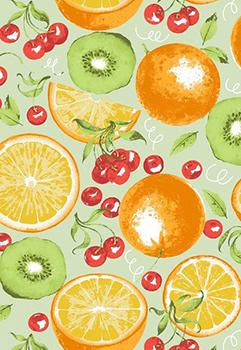 Tecido Tricoline com Estampa de Frutas: Laranja, Kiwi e Cereja - Fundo Verde - Preço de 50 cm X 150 cm