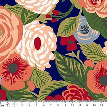 Tecido Tricoline Floral - Fundo Azul - Coleção Botânica - Preço de 50 cm x 150 cm