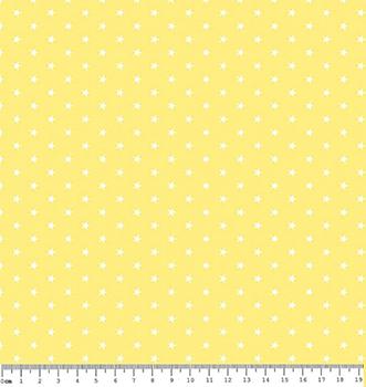 Tecido Tricoline  Estampa Mini Estrela Branca - Fundo Amarelo