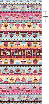 Tecido Tricoline Estampa de Barrados Cupcakes, Doces e Guloseimas  - Preço de 50 cm X 150 cm