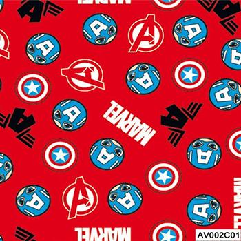 Tecido Tricoline Capitão América Vingadores - Fundo Vermelho - Coleção Marvel - Preço de 50 cm x 150 cm