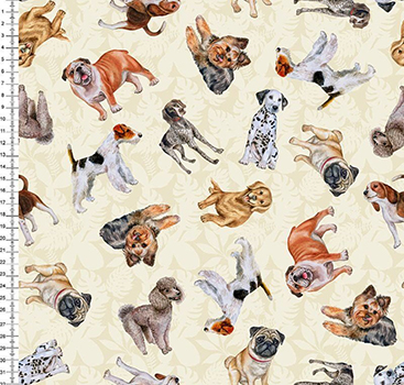 Tecido Tricoline Digital Cachorros - Fundo Bege