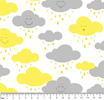 Tecido Tricoline Estampa de Nuvens Amarelo e Cinza