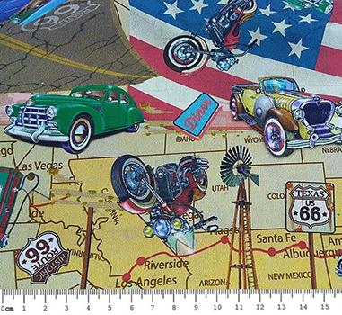 Tecido Digital Carros, Motos Antigas Route 66 - Fundo Bege