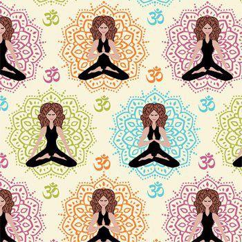 Tecido Tricoline Estampa Ioga e Meditação - Fundo Creme - Coleção Namastê